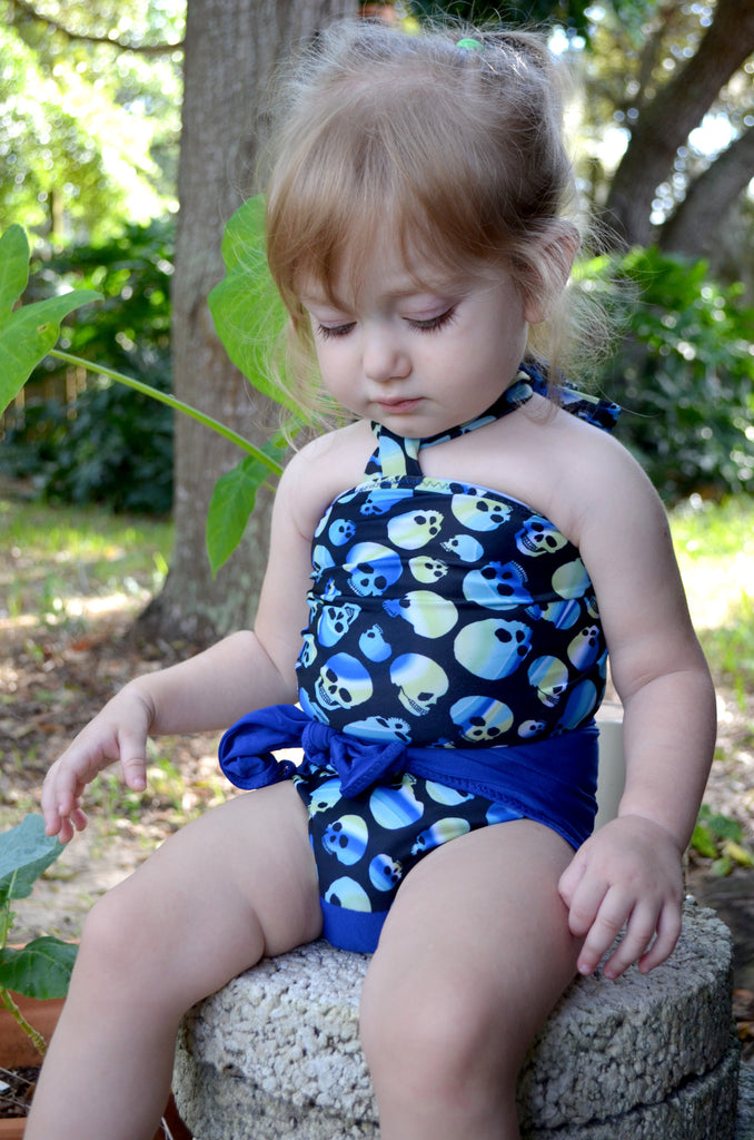 Baby Bathing Suit Royal Blue and Blue Skulls Wrap Around Swimsuit Newborn Toddler One Size Tie On - hisOpal Swimwear - 1