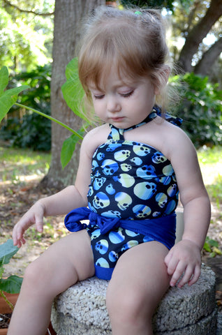 Baby Bathing Suit Royal Blue and Blue Skulls Wrap Around Swimsuit Newborn Toddler One Size Tie On