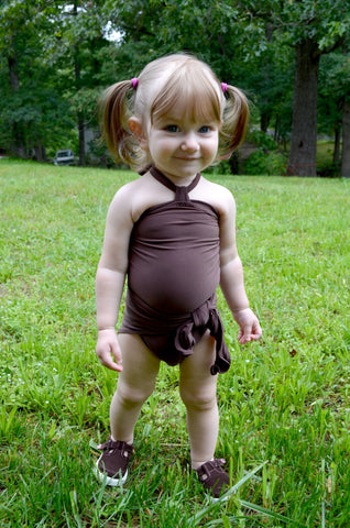 Baby Bathing Suit Chocolate Brown Wrap Around Swimsuit One Size Swimwear