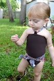 Girls Swimsuit Baby Bathing Suit Paisley Print w/ Brown Wrap Around Swimsuit One Wrap Toddler - hisOpal Swimwear - 3