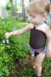 Girls Swimsuit Baby Bathing Suit Paisley Print w/ Brown Wrap Around Swimsuit One Wrap Toddler - hisOpal Swimwear - 5