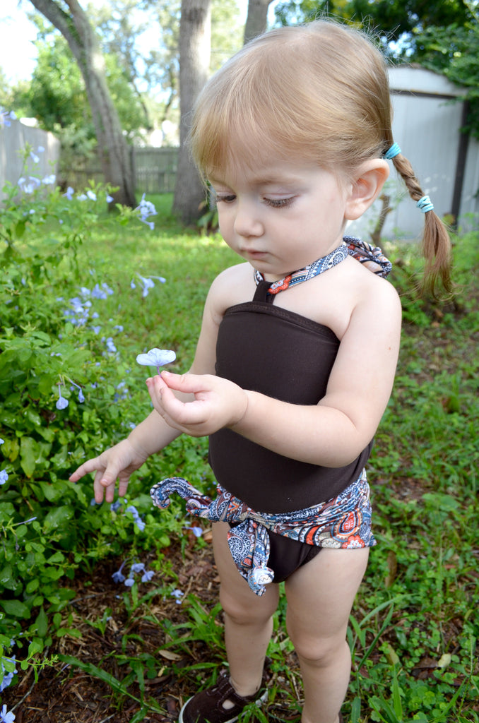 Girls Swimsuit Baby Bathing Suit Paisley Print w/ Brown Wrap Around Swimsuit One Wrap Toddler - hisOpal Swimwear - 1