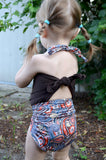 Girls Swimsuit Baby Bathing Suit Paisley Print w/ Brown Wrap Around Swimsuit One Wrap Toddler - hisOpal Swimwear - 4