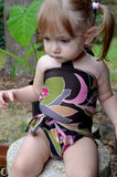 Baby Bathing Suit Brown and Pink Flower Swimsuit Toddler Girls, Infant, Newborn Swimwear One Wrap - hisOpal Swimwear - 1