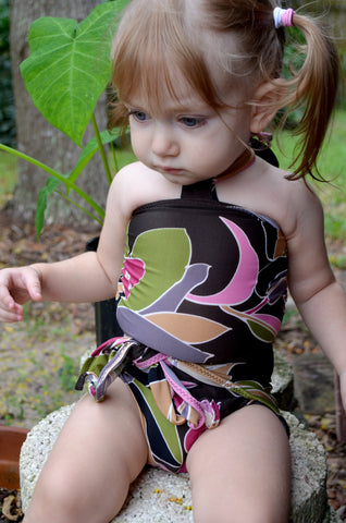 Baby Bathing Suit Brown and Pink Flower Swimsuit Toddler Girls, Infant, Newborn Swimwear One Wrap
