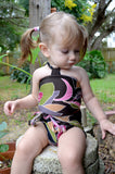 Baby Bathing Suit Brown and Pink Flower Swimsuit Toddler Girls, Infant, Newborn Swimwear One Wrap - hisOpal Swimwear - 2