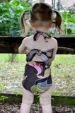 Baby Bathing Suit Brown and Pink Flower Swimsuit Toddler Girls, Infant, Newborn Swimwear One Wrap - hisOpal Swimwear - 3