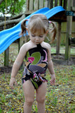 Baby Bathing Suit Brown and Pink Flower Swimsuit Toddler Girls, Infant, Newborn Swimwear One Wrap - hisOpal Swimwear - 4