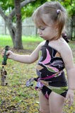 Baby Bathing Suit Brown and Pink Flower Swimsuit Toddler Girls, Infant, Newborn Swimwear One Wrap - hisOpal Swimwear - 6