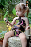 Baby Bathing Suit Brown and Pink Flower Swimsuit Toddler Girls, Infant, Newborn Swimwear One Wrap - hisOpal Swimwear - 5