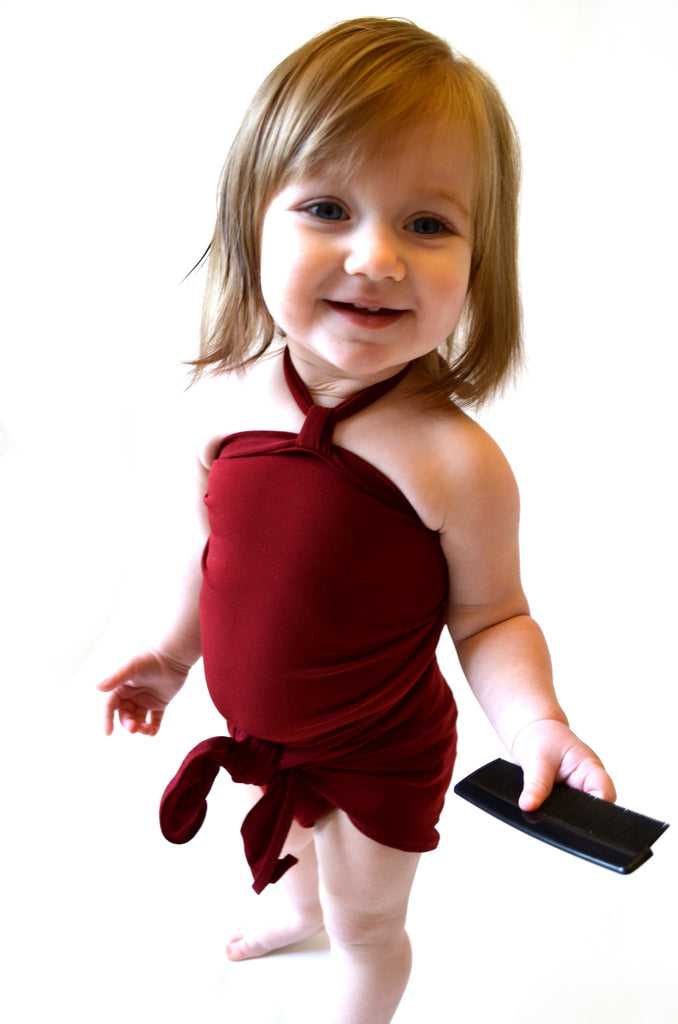 Baby Bathing Suit Burgundy Wine Wrap Around Swimsuit Toddler Girls Swimwear Newborn to 3T - hisOpal Swimwear - 1