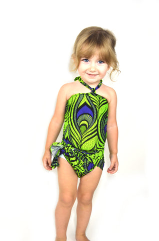 Girls Bathing Suit Chartreuse and Purple Peacock Print One Size Swimwear Infant Newborn Toddler