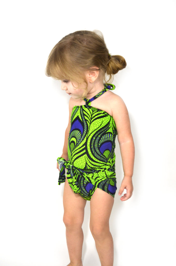 girls bathing suit chartreuse and purple peacock print one size