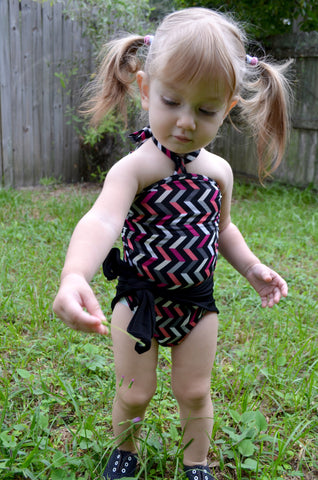 Baby Bathing Suit Chevron with Black Wrap Around Swimsuit Girls Swimwear Infant Newborn 3T 2T