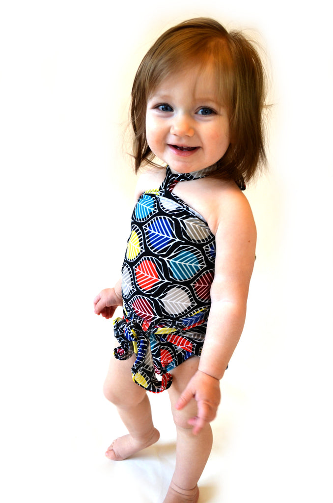 Baby Bathing Suit Colorful Leaf Print Wrap Around Swimsuit Toddler Swimwear - hisOpal Swimwear - 1