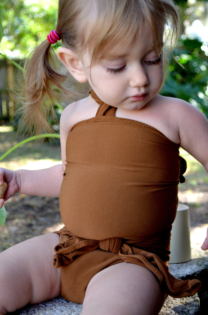 Baby Bathing Suit Copper Wrap Around Swimsuit Unique Baby Girls Swimwear - hisOpal Swimwear - 1