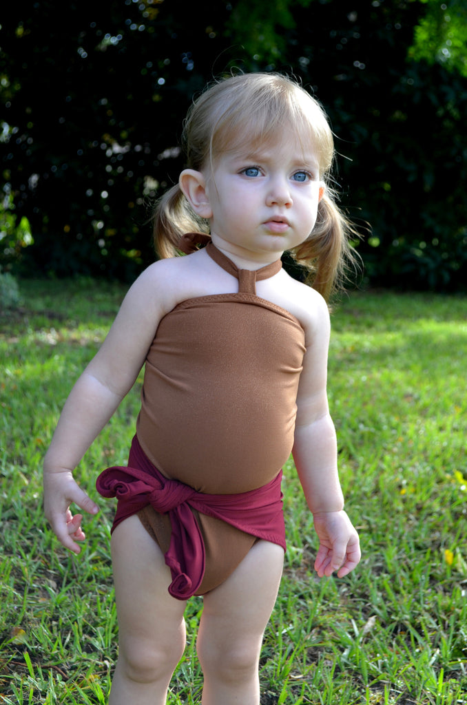 Baby Bathing Suit Copper Gold Flecked w/ Burgundy One Wrap Girls Swimsuit Baby Girls Swimwear - hisOpal Swimwear - 1