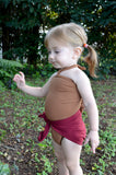 Baby Bathing Suit Copper Gold Flecked w/ Burgundy One Wrap Girls Swimsuit Baby Girls Swimwear - hisOpal Swimwear - 4