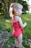Girls Bathing Suit Dark Coral Wrap Around Swimsuit Toddler Swimsuit Girls Swimwear One Size Swimsuit - hisOpal Swimwear - 2
