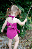 Girls Bathing Suit Fuchsia Wrap Around Swimsuit Toddler Girls Swimwear Pink One Size Swim Suit - hisOpal Swimwear - 3