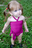 Girls Bathing Suit Fuchsia Wrap Around Swimsuit Toddler Girls Swimwear Pink One Size Swim Suit - hisOpal Swimwear - 1
