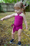 Girls Bathing Suit Fuchsia Wrap Around Swimsuit Toddler Girls Swimwear Pink One Size Swim Suit - hisOpal Swimwear - 4