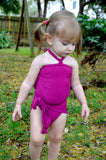 Girls Bathing Suit Fuchsia Wrap Around Swimsuit Toddler Girls Swimwear Pink One Size Swim Suit - hisOpal Swimwear - 5