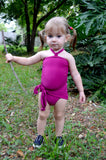 Girls Bathing Suit Fuchsia Wrap Around Swimsuit Toddler Girls Swimwear Pink One Size Swim Suit - hisOpal Swimwear - 6