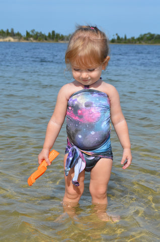 Baby Bathing Suit Galaxy Print Wrap Around Swimsuit One Wrap Toddler Girls Swimwear Infant Suit