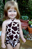 Girls Swimwear Baby Bathing Suit Giraffe Print Wrap Around Swimsuit Animal Print Toddler Swimwear - hisOpal Swimwear - 1