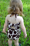 Girls Swimwear Baby Bathing Suit Giraffe Print Wrap Around Swimsuit Animal Print Toddler Swimwear - hisOpal Swimwear - 3