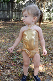 Girls Swimsuit One Wrap Baby Bathing Suit Gold Wrap Around Swimsuit Newborn Toddler - hisOpal Swimwear - 3