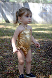 Girls Swimsuit One Wrap Baby Bathing Suit Gold Wrap Around Swimsuit Newborn Toddler - hisOpal Swimwear - 5