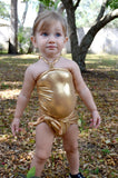 Girls Swimsuit One Wrap Baby Bathing Suit Gold Wrap Around Swimsuit Newborn Toddler - hisOpal Swimwear - 1