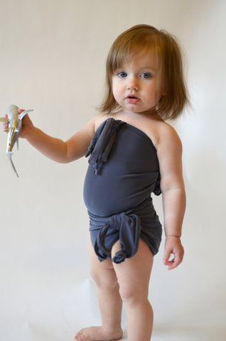 Baby Bathing Suit Solid Light Grey Wrap Around Swimsuit Newborn Toddler 3 Infant Swimwear