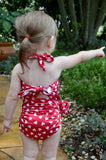 Baby Bathing Suit Red Candy Hearts Wrap Around Swimsuit Childrens Swimwear to fit Newborn Girl to Toddler 3 - hisOpal Swimwear - 2
