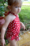 Baby Bathing Suit Red Candy Hearts Wrap Around Swimsuit Childrens Swimwear to fit Newborn Girl to Toddler 3 - hisOpal Swimwear - 3