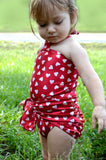 Baby Bathing Suit Red Candy Hearts Wrap Around Swimsuit Childrens Swimwear to fit Newborn Girl to Toddler 3 - hisOpal Swimwear - 4