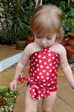 Baby Bathing Suit Red Candy Hearts Wrap Around Swimsuit Childrens Swimwear to fit Newborn Girl to Toddler 3 - hisOpal Swimwear - 5