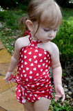 Baby Bathing Suit Red Candy Hearts Wrap Around Swimsuit Childrens Swimwear to fit Newborn Girl to Toddler 3 - hisOpal Swimwear - 1