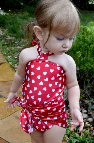 Baby Bathing Suit Red Candy Hearts Wrap Around Swimsuit Childrens Swimwear
