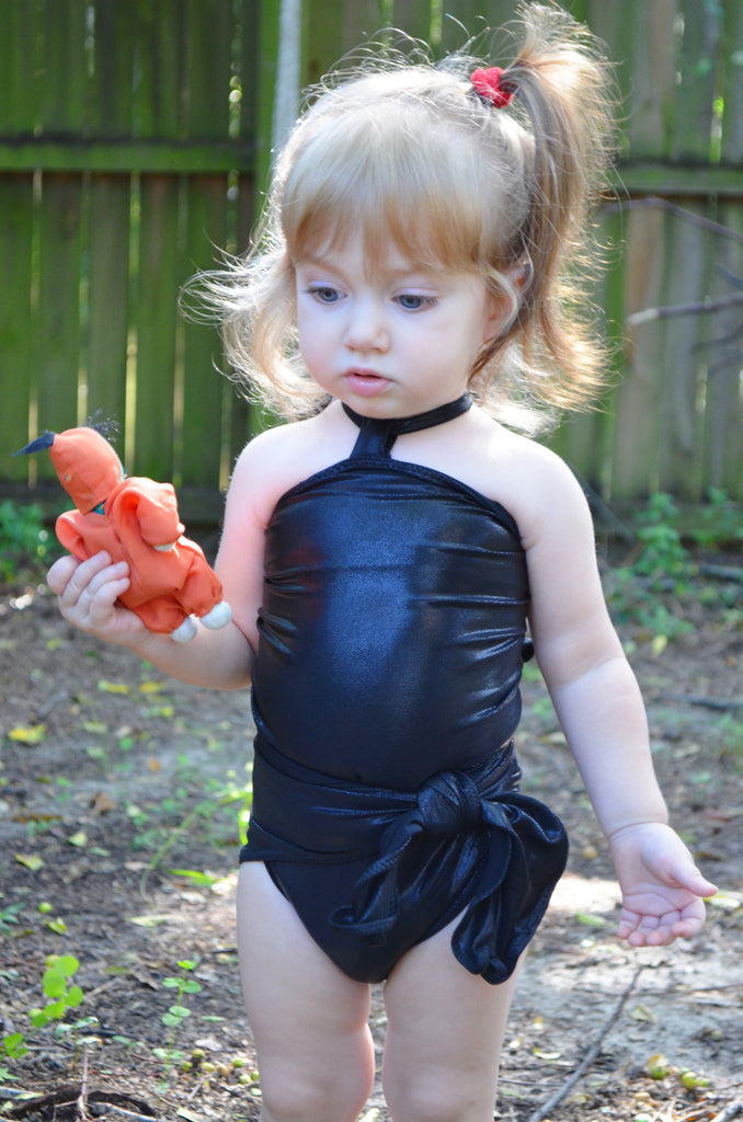 Baby Bathing Suit Liquid Metallic Black Swimsuit Toddler Girls Swimsuit Newborn to 3T - hisOpal Swimwear - 1