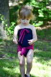 Girls Bathing Suit Dark Navy w/ Fuchsia Wrap Around Swimsuit Toddler Newborn