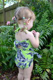 Girls Bathing Suit Neon Green & Black Floral Print Wrap Around Bikini One Size Swimwear Infant - hisOpal Swimwear - 6