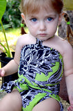 Girls Bathing Suit Neon Green & Black Floral Print Wrap Around Bikini One Size Swimwear Infant - hisOpal Swimwear - 1