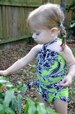 Girls Bathing Suit Neon Green & Black Floral Print Wrap Around Bikini One Size Swimwear Infant - hisOpal Swimwear - 3