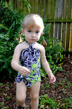 Girls Bathing Suit Neon Green & Black Floral Print Wrap Around Bikini One Size Swimwear Infant - hisOpal Swimwear - 4