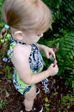 Girls Bathing Suit Neon Green & Black Floral Print Wrap Around Bikini One Size Swimwear Infant - hisOpal Swimwear - 5