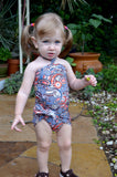 Girls Swimsuit Baby Bathing Suit Teal Paisley Print Wrap Around Swimsuit One Wrap Toddler Tie On - hisOpal Swimwear - 2