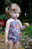 Girls Swimsuit Baby Bathing Suit Teal Paisley Print Wrap Around Swimsuit One Wrap Toddler Tie On - hisOpal Swimwear - 3